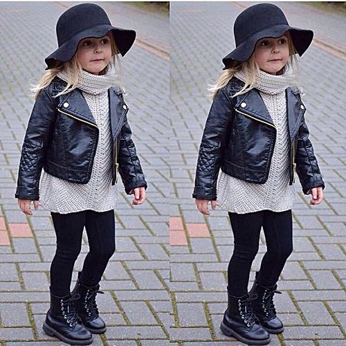 88caa75710f9 Generic Autumn Winter Girl Boy Kids Baby Outwear Leather Coat Short ...