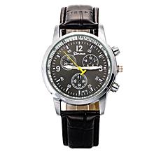 Luxury Faux Crocodile Leather Men Quartz Analog Watch Watches Black