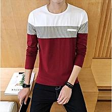 New Men's Long Sleeved T-shirt Striped Shirt-red