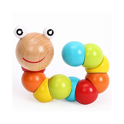 Candy Color Flexible Twisting Caterpillar Wooden Toy For Baby