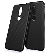 "Nokia 6.1 Plus Case,Shockproof Ultra Slim Fit Silicone TPU Soft Rubber Cover Shock Resistance Protective Back Bumper for Nokia 6.1 Plus (Nokia X6) 5.8"" - Black"