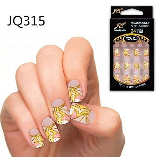 Buy Generic 24pcs False Nails French Fake Nails For Nail Art Design