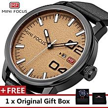 MINI FOCUS Top Luxury Brand Watch Famous Fashion Sports Cool Men Quartz Watches Calendar Waterproof Leather Wristwatch For Male MF0022G.04_FZ1 WWD