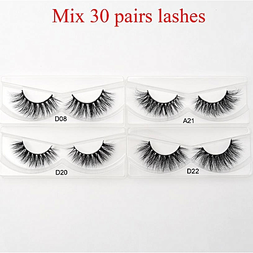0e0779bda77 Generic 30pairs/pack 3D Mink Lashes with Tray No Box Natural Cruelty Free  Mink Eyelashes Reusable False Eyelashes Long Faux Cil(Mix 30pair style)