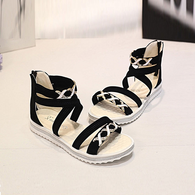 39afdee83f8 ... Women Flat Shoes Summer Soft Leather Leisure Ladies Sandals Black 36