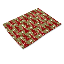 Nordic style antlers Christmas tree cotton linen art western placemat colorful