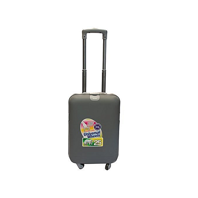3a329a6b3c72 Grey PVC Extra Strong Travel Suitcase 25 Litres Small