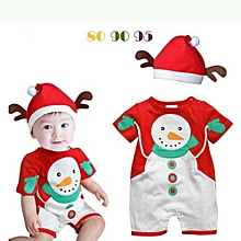 Fashion  New Year Christmas Infant Baby Romper Jumpsuit Climb Clothes And  Hat