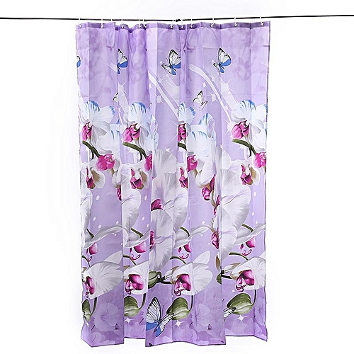 Polyester Fabric Shower Curtain Waterproof Home Bathroom Curtains Butterfly Orchid Purple Bath Crutain 120wide200high