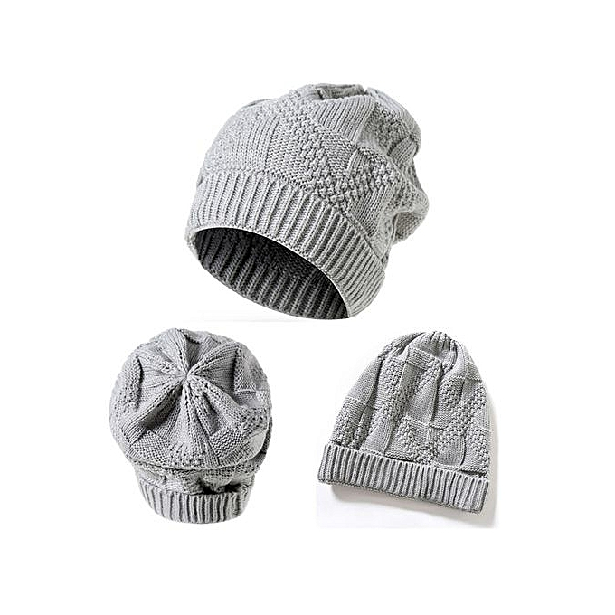 016c9217645 Men Women Knit Baggy Beanie Oversize Winter Hat Ski Slouchy Chic Cap Gray