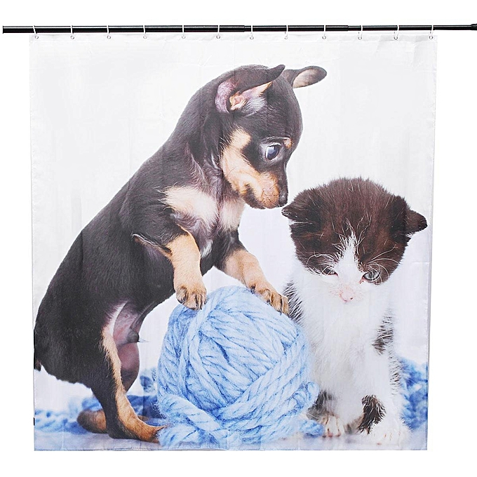 180180cm Cat Dog Bathroom Shower Curtain Waterproof 12 Free Hooks