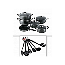 11 Pcs - Non Stick Cooking Pots with 6 Non -Stick spoons seeman