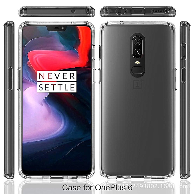 ab52f4f807a ... For OnePlus 6 Transparent Silicone Phone Case Anti-drop Silicone Case  Acrylic Frame + Silicone ...