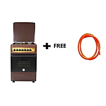Free Standing Cooker, 3 Gas Burners, 1 RAPID Hot Plate, Electric Oven - MST55PI31DB/HC, 50 X 55, With Free Gas Pipe - Dark Brown