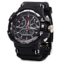 Men Sport Digital Luminous Analog Quartz Watch-SILVER AND BLACK