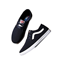 Men's Canvas Sneaker Shoes With Rubber Sole - Navy Blue.