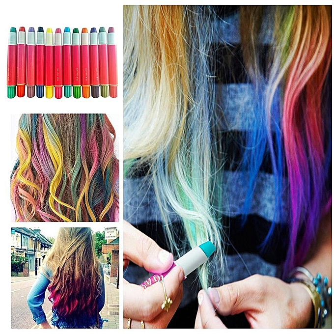 temporary hair chalkhair chalk set12 colors temporary hair color pen rainbow hair