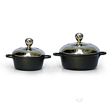 2 Nonstick Cooking Pots - Black