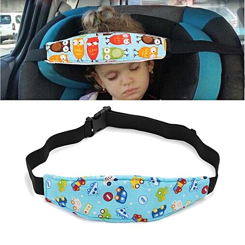 2pcs Baby Car Seat Sleep Head Support Children Travel Safety Adjustable Strap Belt Blue Cars