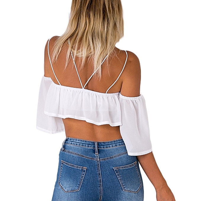 a9ef387cca8bcc Sexy Fashion Women Loose Crop Top Solid Off Shoulder Backless Strappy Short  Sleeves Casual Blouse Tank