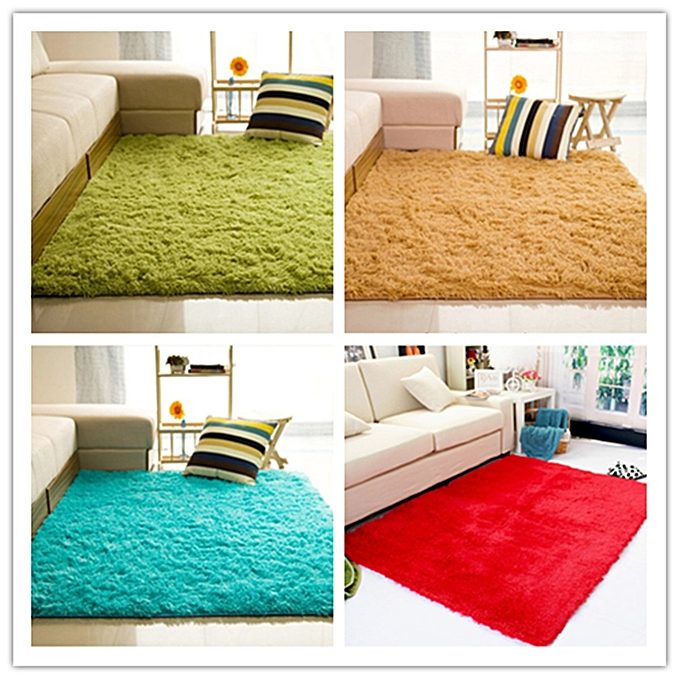 ... Shaggy Anti-skid Carpets Rugs Floor Mat/Cover 80x120cm Grass Green