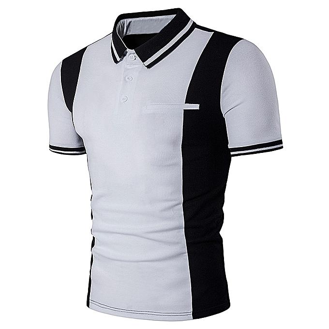 Buy fashion varsity stripe color block panel design polo t for Polo t shirt design online