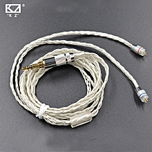 New KZ ZST/KZ ED12 Dedicated Cable 0.75mm 2Pin Upgraded Plated Silver Cable 2 PIN Upgrade Cable Ues For KZ ZST Free Shipping  XBQ-A