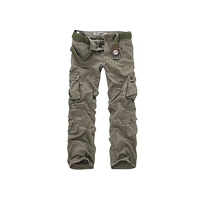 7e94bd15339 ChArmkpR Mens Plus Size Outdoor Military Casual Multi Pockets Cotton Sport  Cargo Pants Army Green