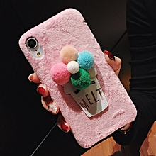 3D Fur Ball Flower Plush Case for iPhone XS Max (Pink)