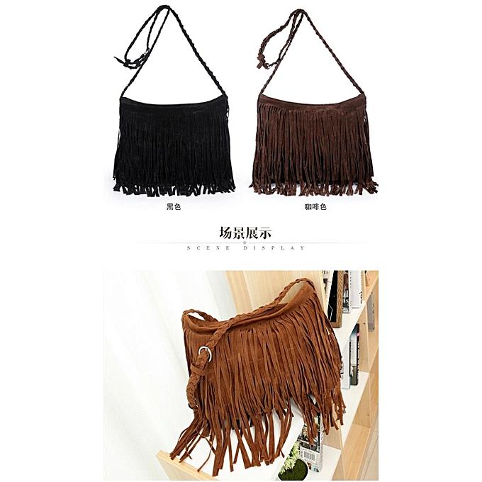 c6c077047218 BS Shoulder Cross Bag Retro Vintage Tassel Pu Leather Fringe Crossbody  Sling Bag