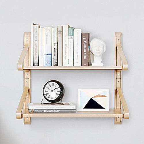 Enjoyable Xiaomi Huoxu Natural Solid Wood Wall Mount Shelf Shelves Bracket Nordic Curved Storage Display Bookshelf 2 Home Interior And Landscaping Elinuenasavecom