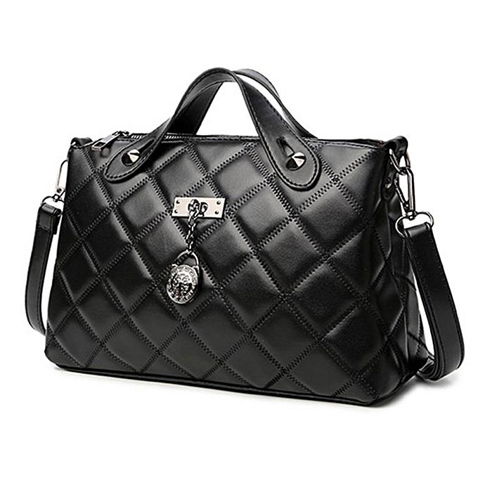 277770a9077 Diamond Lattice Line Women Crossbody Bags PU Leather Shoulder Bag Handbags  Black