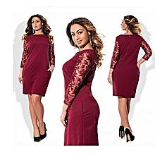 Big Size Office Formal Dresses Half Sleeve O-neck Women Vestidos Casual Dress-rose red