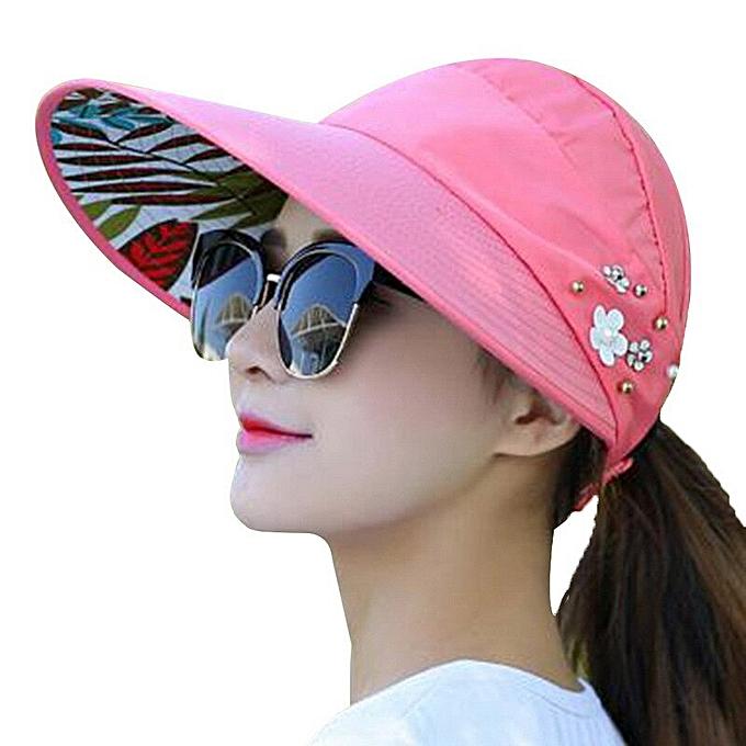 b95242e1 New Summer Beach Women Sun Hats Uv Protection Pearl Packable Sun Visor Hat  With Big Heads
