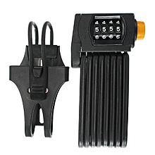 Coded Password Lock Folding Anti Theft 4 Digital Combination Bicycle Chain Black Yellow-