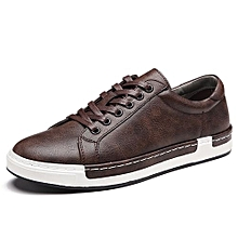 Mens Plus Size Lace-Up Casual Shoes Sneakers-Coffe