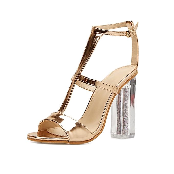 53eb092cc7cc jiuhap store Women Sandals Buckle Simple Fashion High Heel Sandals Lady  Studded Heels-Gold