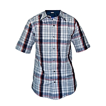 Blue and Red multicolored checked Slim fit Collier Shirt