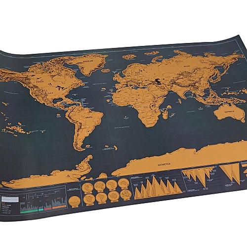Generic Mini Black Deluxe Travel Scrape World Map Poster Traveler