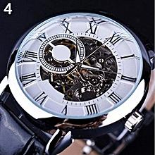 Men Hollow Engraving Case Skeleton Dial Mechanical Watch - White & Silver
