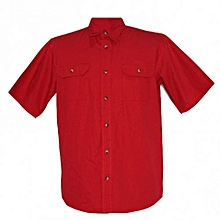 Red Short Sleeved Mens Shirts