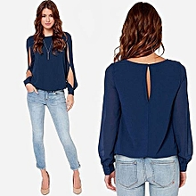 319b9b053117f2 Women  039 s Fashion Loose Sexy T-shirt Long Sleeve Chiffon Casual Blouse