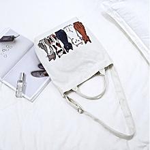 Cartoon Cats Printed Beach Bag Canvas Tote Shopping Handbags Femme Bags E