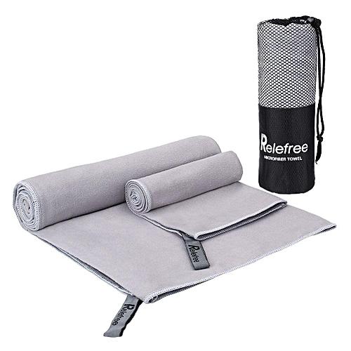 Generic KCASA KC-TW168 Microfiber Towel Set 2 Pack Absorbent Quick Drying Antibacterial Beach Bath Towel Yoga Mat Towels With Mesh Bag For Swimming Travel ...