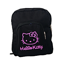 Black Canvas Designer School Bag With Pink Hello Kitty Pattern