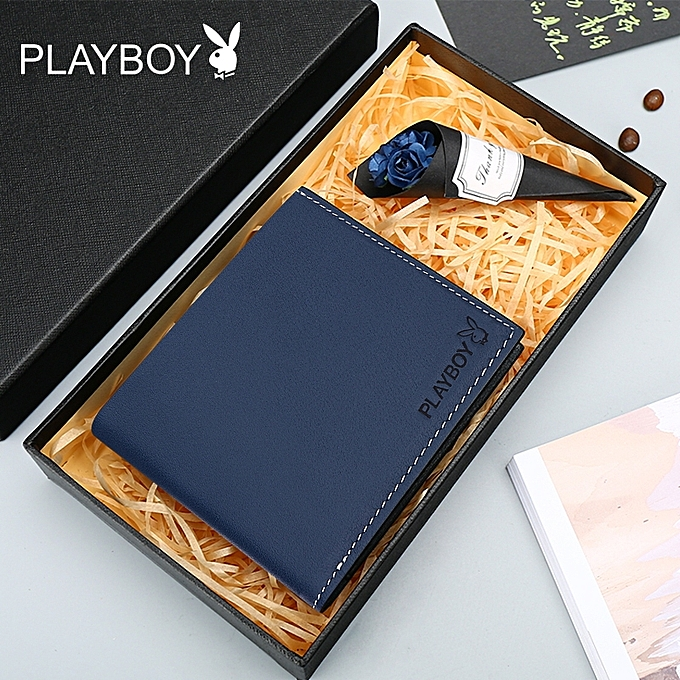 【blue】Playboy wallet men short student men's new wallet leather youth boys leather clip