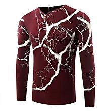 Jamickiki Style New Fashion Men's Lightning Printed Long Sleeve T Shirt-red