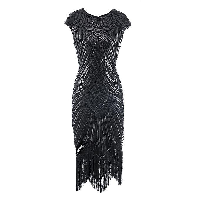 Women Tassel Prom Dresses Beaded Sequin Art Nouveau Deco Flapper Dress 91c57f1c548a