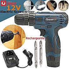 Rechargeable 12V Screwdriver Electric Drill Battery Operated Cordless Wireless