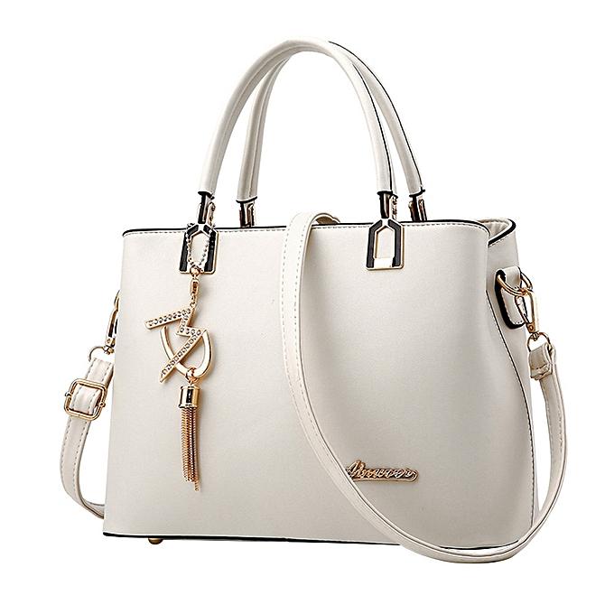 ccf8cd126cab singedanNew ladies ladies bag simple handbag shoulder bag large bag  Messenger bag WH -White -